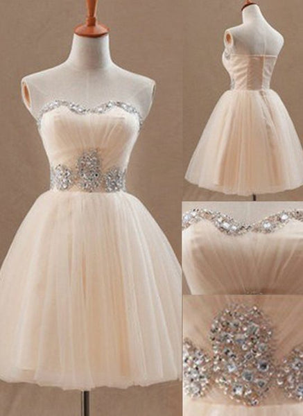 Sweetheart Sleeveless Short Pearl Pink Homecoming Dress with Beading Waist   S1329