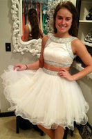 Elegant Two Pieces Ivory Short Cute Beaded Tulle Homecoming Dresses   S1333