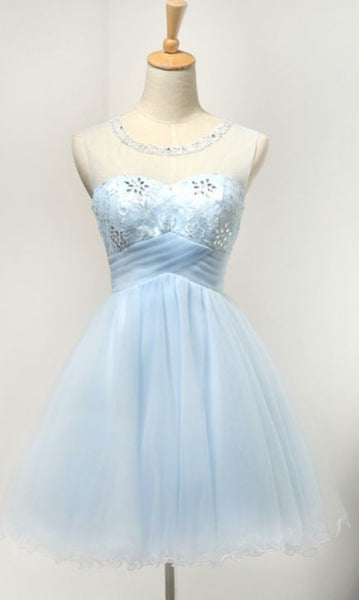 Short Homecoming Dresses,  Light Blue Short Tulle Classy Girly Homecoming Dresses    S1334