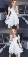 A-Line V-Neck Grey Long Sleeves Homecoming Dress with Lace  S133