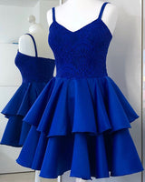 Spaghetti Straps Royal Blue Lace Bodice Homecoming Dress with Layered Skirt    S1341