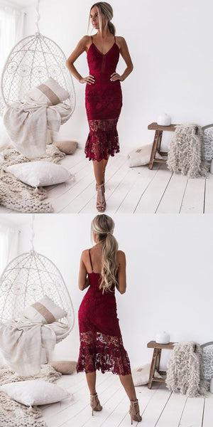 Sheath Spaghetti Straps Tea-Length Burgundy Lace Homecoming  Dress , Charming  Homecoming Dress  S1340