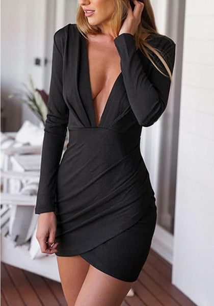 Black Plain  Plunging Neckline Mini Dress ,Short Homecoming Dress    S1346