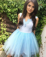 White and Blue V-neck Homecoming Dress with Tulle Skirt   S1347