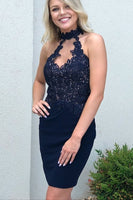 Navy Blue Sheath Satin Homecoming Dresses with Applique  S1355