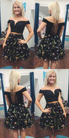 Two Piece A-Line Off the Shoulder Black Lace Short Prom Dress, modest off the shoulder short homecoming dresses  S135