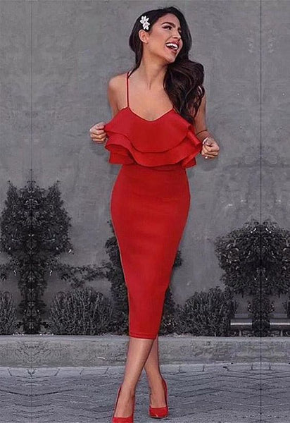 Spaghetti Strap Slash Neck Bodycon Ruffles Dress ,Tea Length Homecoming Dress S1379