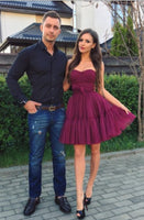 Burgundy Homecoming Dress,Short Burgundy Tulle Prom Dress  S137