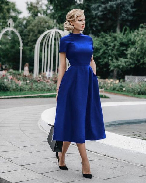 Royal Blue Tea Length Homecoming Dress S1380