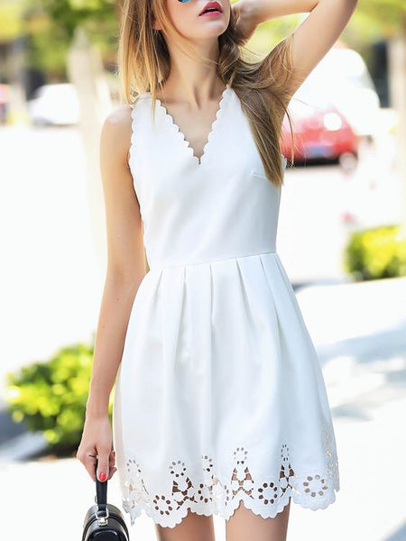White V Neck Backless Hollow A-Line Homecoming Dress   S1382