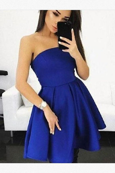 Homecoming Dresses Cheap, A-Line Homecoming Dresses, Blue Homecoming Dresses   S1389