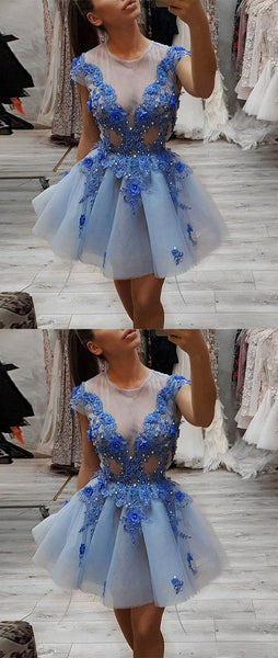 Blue round neck lace short prom dress, blue tulle evening dress  S138