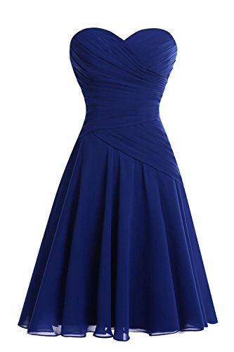 Blue Chiffon Short  Knee Length  Homecoming  Dress S1390