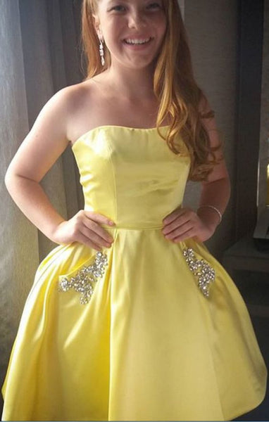 Yellow Homecoming Dress, Short Homecoming Dress, Homecoming Dress With Pockets  S1392