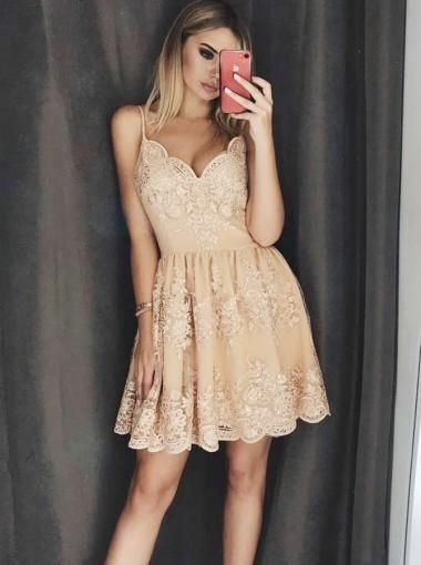 Champagne Lace V-neck Spaghetti Straps Homecoming Dresses with Applique  S1396