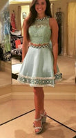 Two-Piece Lace Beaded Short Homecoming Dress, Cocktail Dress, Party Dress  S139