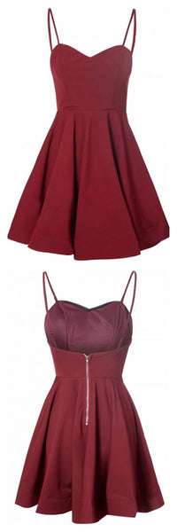 A Line Burgundy Spaghetti Straps Satin Homecoming Dresses  S140