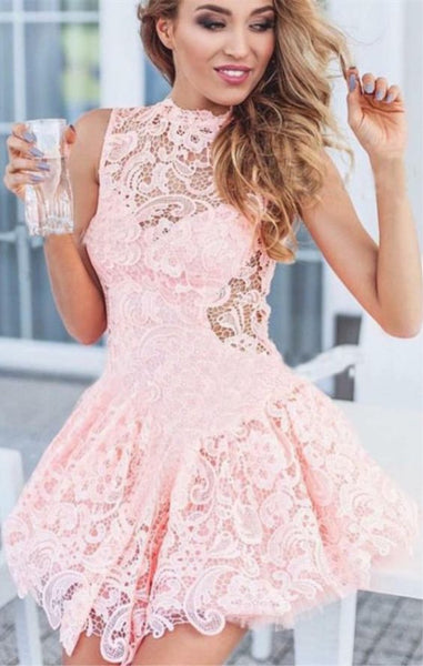 A-line Round Neck Pink Lace Short Homecoming Dress  S1400