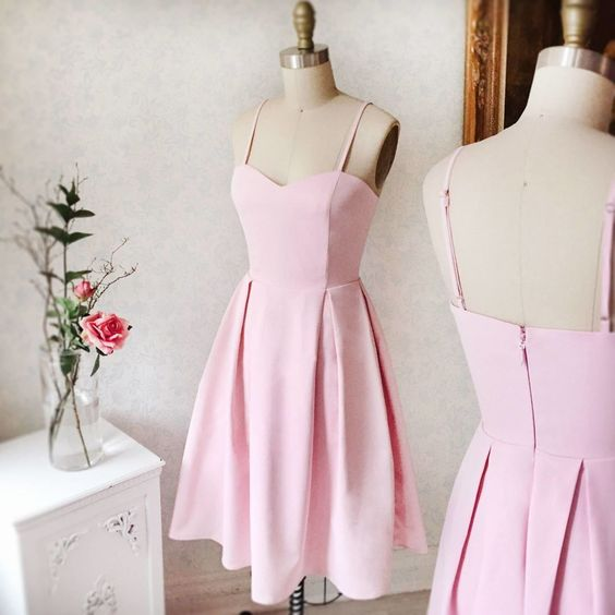Charming A Line Pink Short Homecoming Dress, Spaghetti Straps  Gown   S1405
