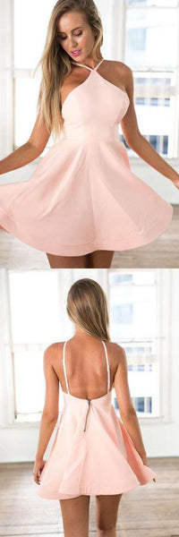 A-Line Halter Backless Pink  Satin Short Homecoming Dress  S1408