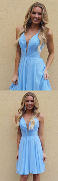 A-Line Spaghetti Straps Above-Knee Light Blue Chiffon Homecoming Dress  S1411