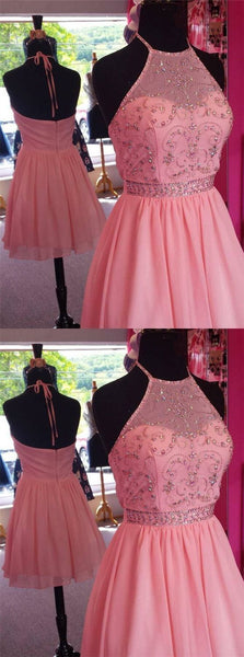 Pink Halter Top Beading Open Back A-Lin Short Chiffon Homecoming Dresses S1414