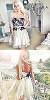 Short Tulle Homecoming Dress, Strapless Lace Homecoming Dress  S1425