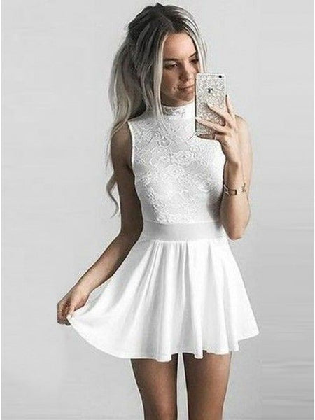 A-Line High Neck Short Ivory Chiffon Homecoming Dress with Lace  S1428