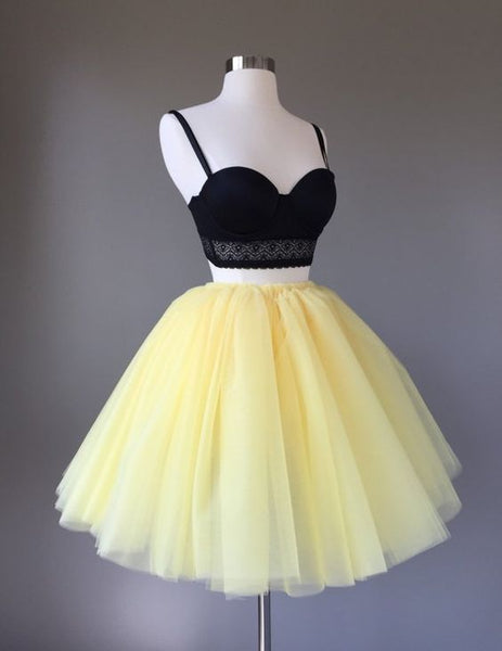 Pale Yellow Tulle Skirt  ,Short Homecoming Dress  S1438