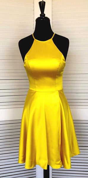 Halter Yellow Homecoming Dresses, Short Homecoming Dresses  S1439
