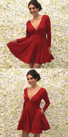 Full Sleeves Deep V neck Short Prom Dresses with Pockets    S144