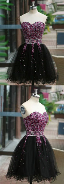 Gorgeous A Line Sweetheart Black Short Homecoming Dresses with Beading  S1441