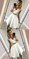 Two Piece A-Line V-Neck White Short Homecoming Dress  S1447