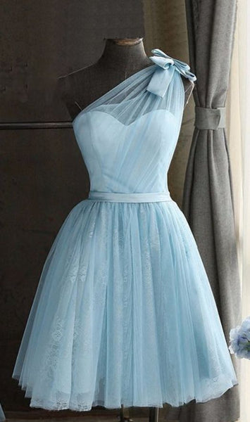 Blue Tulle One Shoulder Short Homecoming Dresses, Bowknot Homecoming Dresses S1454