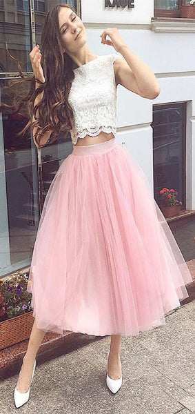 Two-Piece Homecoming Dresses Bateau A Line Tulle & Lace Tea Length   S1458