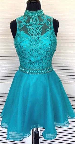 High Neck Turquoise Short Homecoming Dress    S1460