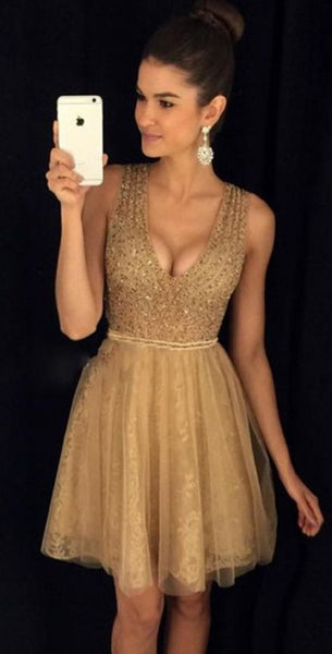 Shiny Gold Homecoming Dresses V-Neck Beaded Layers S1462
