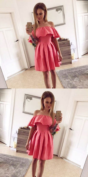 A-Line Off The Shoulder Pink Pleated Homecoming Dress   S146