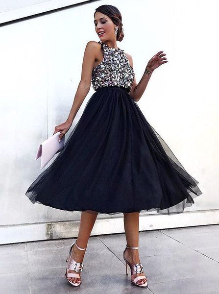 A-Line Round Neck Knee Length Black Tulle Homecoming Dress with Sequins S1470