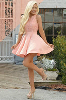 A-Line Crew Short Pink Satin Homecoming Dress with Lace  S1473