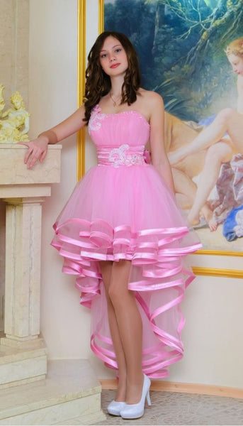 High Low Ball Gown One Shoulder Homecoming Dress  S1477
