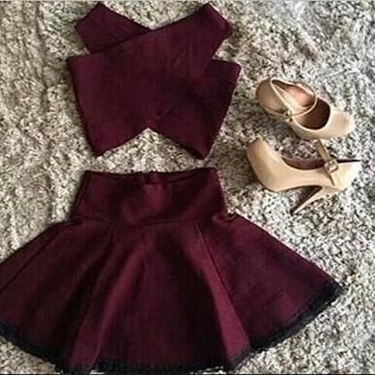 A Line Party Dress,2 Piece Homecoming Dress,Mini Cross Design Skirt For Teens,Short Burgundy Party Dress S1479