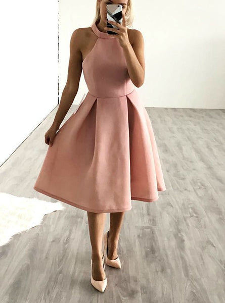 Cheap Classic Halter Short Pink Knee Length Homecoming Dress Party Dress S1478