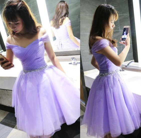Beautiful Lavender Beaded Waist Cute Tulle Party Dress , Short Homecoming Dresses S1481