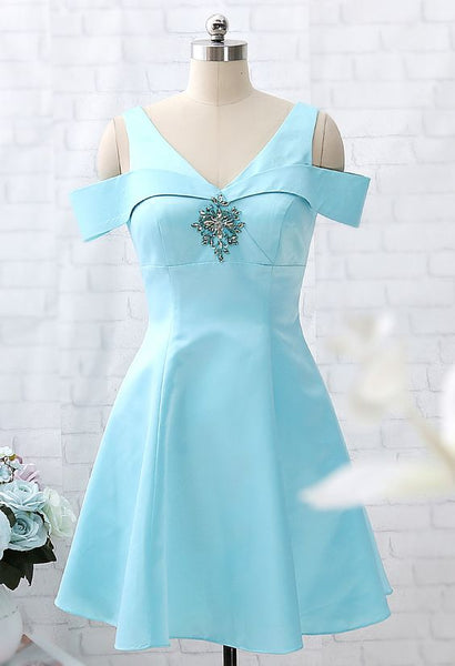Off the Shoulder Sky Blue Satin Mini  Homecoming Dress    S1488