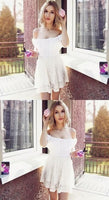 A-Line Off the Shoulder White Lace Homecoming Dress   S148