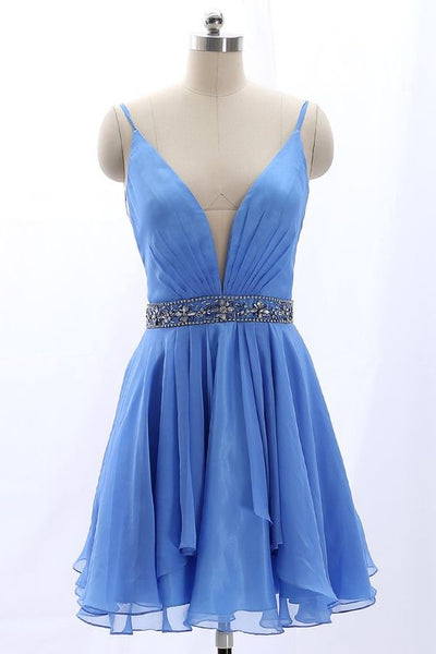 Straps V Neck Chiffon Short Prom Homecoming Dress Blue    S1490