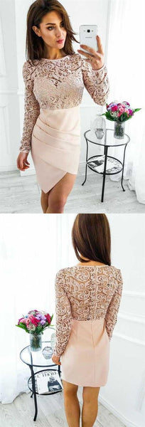 Elegant Round Neck Long Sleeve Lace Homecoming Dresses Short Cocktail Dresses  S1493