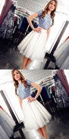 Two Piece Round Neck White Mid-Calf Homecoming Dress With Lace   S149