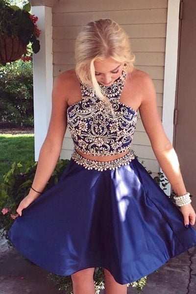 Two Piece Homecoming Dresses, Navy Blue Homecoming Dresses  S1506